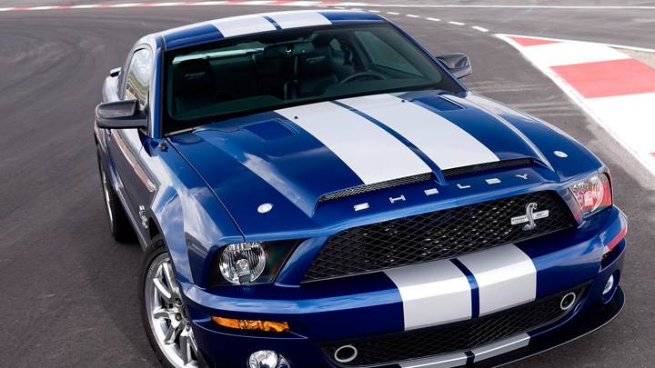 Front Top Pose Of 2008 Ford Shelby GT500KR In Blue On Racing Track